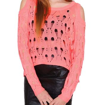 Sweet Spring Cold-Shoulder Sweater Top - Coral