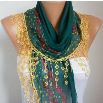 ON SALE - Scarf Shawl  -  Cotton Weddings Scarves -  Cowl  with  Lace Edge - Emerald Green