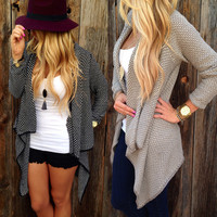 Casual Loose Plus Size Knitted Women's Black or Tan Long Cardigan Sweater