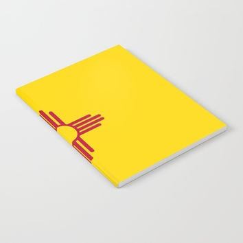 flag new mexico-usa,america,sun,Zia Sun symbol,New Mexican,Albuquerque,Las Cruces,santa fe,roswell Notebook by oldking