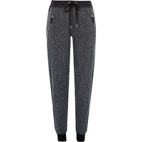 River Island Womens Grey jersey leather-look trim joggers