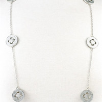 Flower Inspired Long Chain Necklace - Silver