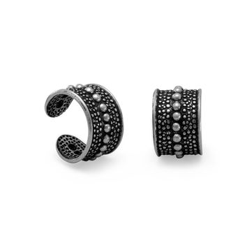 Oxidized Sterling Silver Ear Cuffs with Bead Design