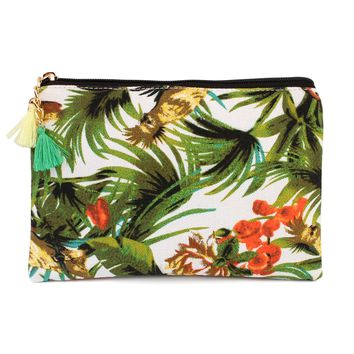 Tropical Print Cosmetic Bag