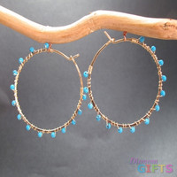 "Hoops with small turquoise beads wrapped around, 1-1/4"" Earring Gold Or Silver"
