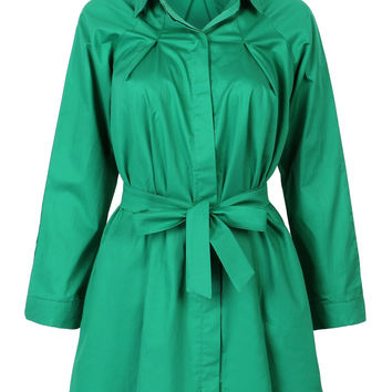 Green Tie Waist Long Sleeve Shirt Dress-top