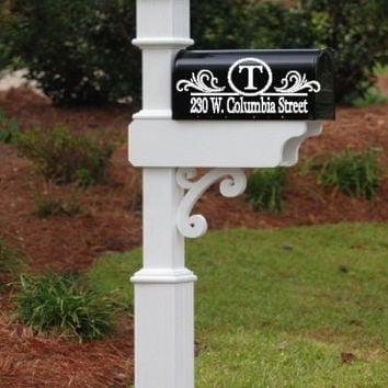 Personalized Mailbox Initial Circle Address Decal