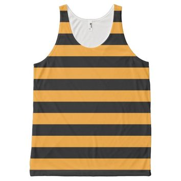 Black and orange stripes pattern All-Over print tank top