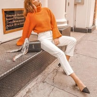 Turtleneck women knitted pullover sweater Vintage ladies wide long sleeve sweaters Casual orange jumpers
