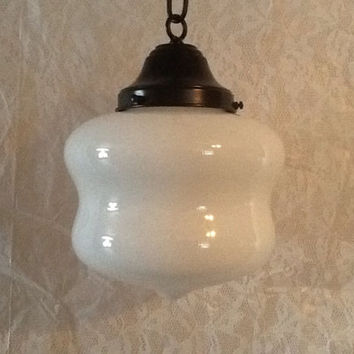 Antique Art Deco Pendant Light Unusual Shape Milk Glass Shade1930s Schoolhouse Light