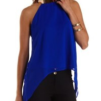Gold-Plated Swing Halter Top by Charlotte Russe - Bright Cobalt