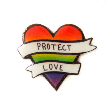 """LGBT Rainbow Heart Pin with """"Protect Love"""" Banner"""