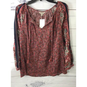 Lucky Brand Floral Split Neck Long Sleeve Top, Size M