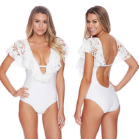 Pure White Lace Cap Sleeve V-Neck Backless Swimsuit