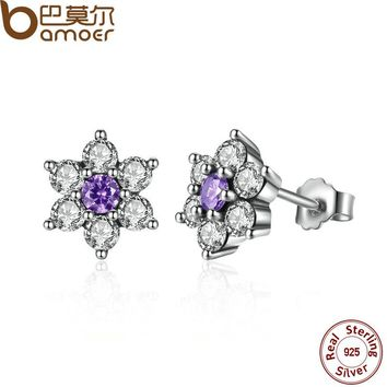 BAMOER 925 Sterling Silver Forget Me Not, Purple & Clear CZ Earrings for Women boucle d'oreille femme Fine Jewelry PAS463