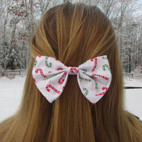Red and Green Candy Cane Winter Holiday Hair Bow