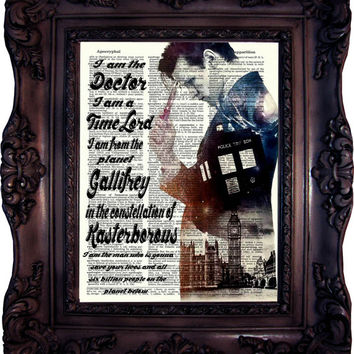 Dr Who Quote. Matt Smith print on vintage book page. 11. doctor. Dictionary Art Print. Dictionary art.  Dr Who altered art.  Quotes.Code:537