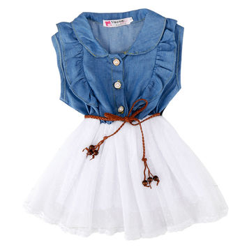 Baby Kids Children Girl's Sleeveless Fancy Party Dress Denim Jeans Dress