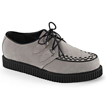 Demonia Grey Faux Suede One Inch Creepers