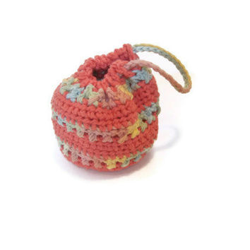 "Little Girl Toddler Crochet Purse Handbag Pouch Coral Multi Stripes Drawstring 4"" Tall"
