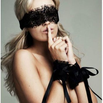 Women's Sexy Lingerie Hot Black Lace Eye Covers Cosplay With 1 Pair of Gloves