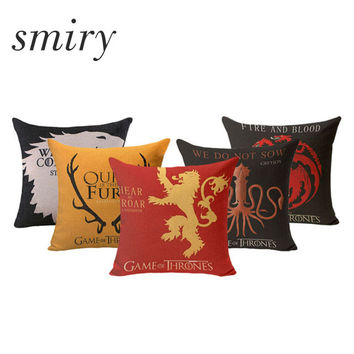 SMIRY Brand Cushion Cover Game of Thrones Pillow Cover Cushions Cotton Linen Pillowcase Decorative for Sofa Car Chair Pillows