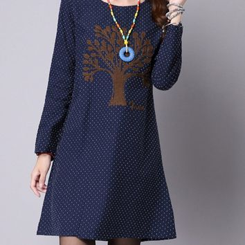 Streetstyle  Casual Round Neck Tree Embroidery Polka Dot Shift Dress