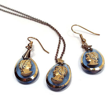 Vintage Cameo Jewelry Set Pierced Earrings and Pendant Necklace Blue and Gold Tone Oval Glass Drop Retro 1970s 70s