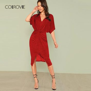 COLROVIE Red V Neck Twist Front Half Sleeve Split Sexy Bodycon Dress 2018 Autumn Solid Elegant Midi Party Dress Women Dresses
