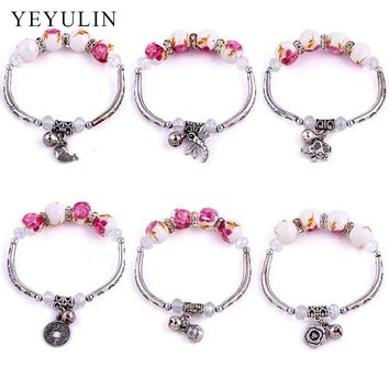 Trendy Ethnic Style Printed Rose Color Ceramic Beads Bracelet With Tibetan Silver Charms Elephant Coins  Dragonflies For Female