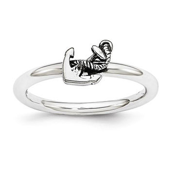 Sterling Silver Stackable Expressions Antiqued Anchor Ring
