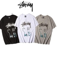 Stussy Print Short Sleeve Unisex Couple Hip-hop T-shirts [11501025484]