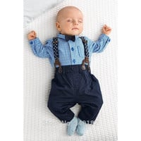 Baby Boy Suspenders and Bow Tie Outfit. 4 Pieces