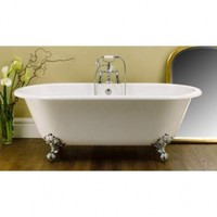 Victoria and Albert CHE-N-BN Cheshire White Clawfoot Tub with Brushed Nickel Feet 68 7/8 x 31 1/2 x 26 x 16 1/4