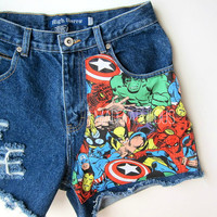 MARVEL Comics Vintage Denim Shorts//HANDMADE & RECONSTRUCTED