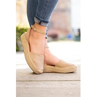 Oatmeal Espadrille Wedge Shoe