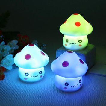 Colorful Nightlight Vinyl Mushroom LED Lamp Night Lights Hot  Lovely Children's Room Decoration Lamp