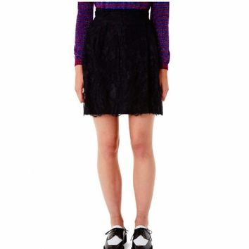 Carven Black Lace Embroidered Skirt