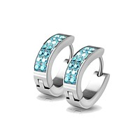 Blue Sparkle Huggie - Stainless Steel Crystal Detailed Huggie Earrings