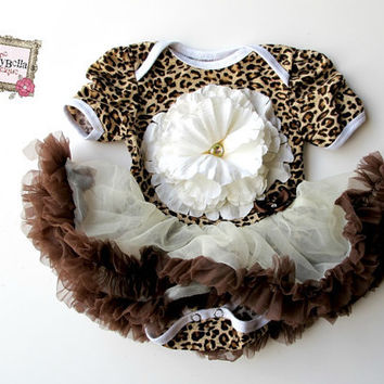 Leopard print baby girl Onesuit tutu skirt  by TheBabyBellaBoutique