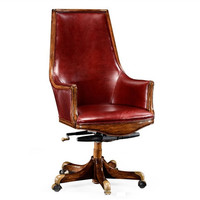 High backed desk chair in burgundy leather