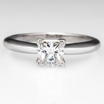 Solitaire Princess Cut Diamond Engagement Ring 14K White Gold