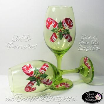 Hand Painted Wine Glass - Candy Canes Holly - Original Designs by Cathy Kraemer