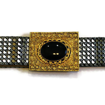 Vintage 1960's Elastic Belt Ornate Belt Gold Belt Stretch Belt