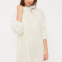 Missguided - Cream Brushed Chunky Stitch Mini Dress