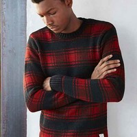 Native Youth Plaid Crew-Neck Sweater- Black