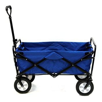 Collapsible Folding Outdoor Utility Wagon, Blue