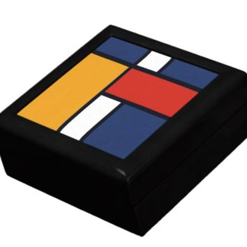 Keepsake/Jewelry Box - Mondrian Inspired Design - Lacquer Box