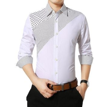 Men Spring Long Sleeve Shirts | Men's Casual Cotton Polka Dot Shirts | Flannel Warm Check Slim Fit Shirt