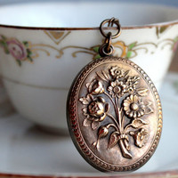 Secret Garden Necklace Vintage Old Puffy Romantic Floral Brass Pendant With Key Statement Necklace